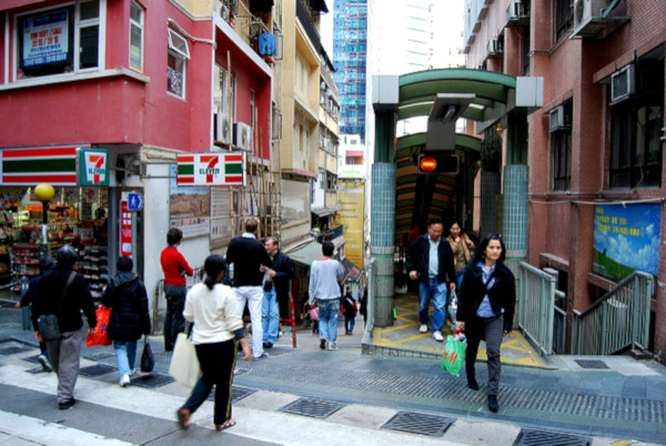Fotos de Hong Kong. escalera mecanica de Central a Mid-Levels